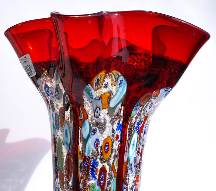 murrina vasi red : Imperio Rossi-red vase with Murrina Millefiore and silver - Catawiki
