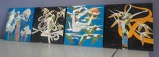 Oriental erotica; Lot with 4 lacquer paintings by unknown artist-late 20th century