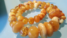 Antique Baltic Amber Necklace - Polished - Natural - 91 g.