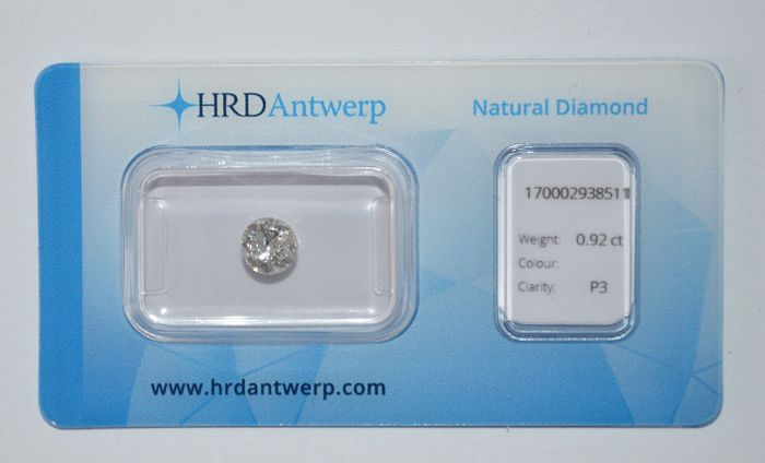 0.92 ct brilliant cut diamond, RW(G) ecg, P3