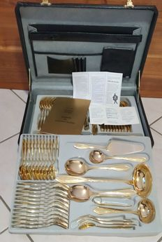 SBS Solingen Germany 72 piece cutlery case for 12 persons - 24 carat gold-plated