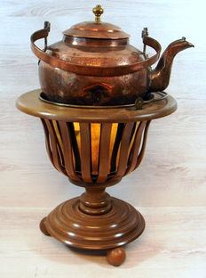 Walnut tea oven with yellow copper inner tray and hammered copper boiler
