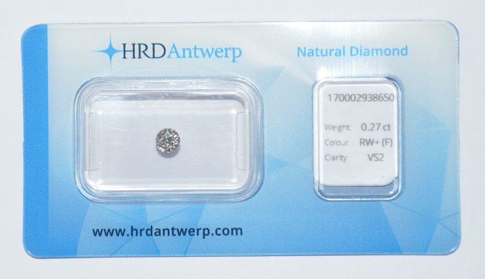 0.27 ct briljant geslepen diamant, RW+(F), VS2