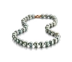 Lustrous Perfectly Round Tahitian Pearl Necklace 9x11.9mm Feauturing a Rose Gold Clasp