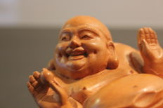 Laughing Buddha - Wooden Sculpture - China -Mid-20th century.