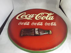 Vintage old style coca cola wall sign, retro picture handcrafted wooden pub bar - late 20th/early 21th century.