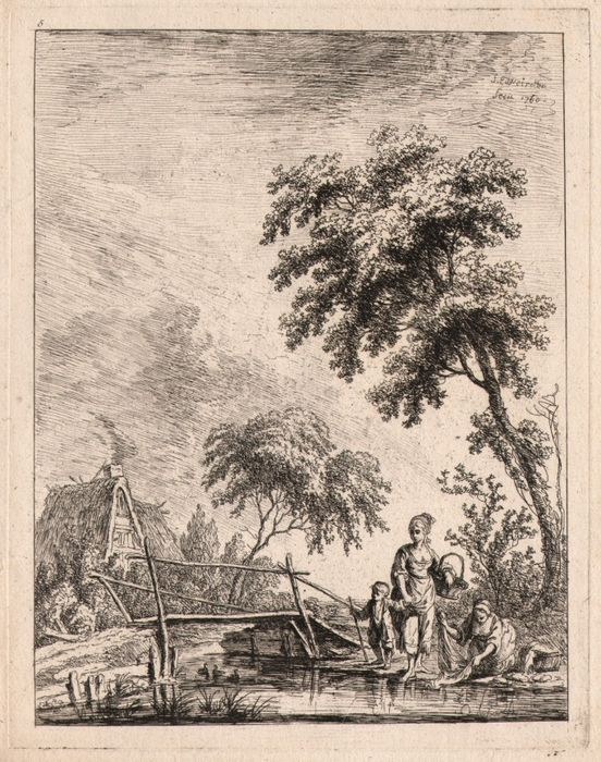 Franz Edmund Weirotter ( 1733 - 1771) - Laundress woman near a bridge - Dessinés d'après la nature et Gravés par Weyrotter -  1760
