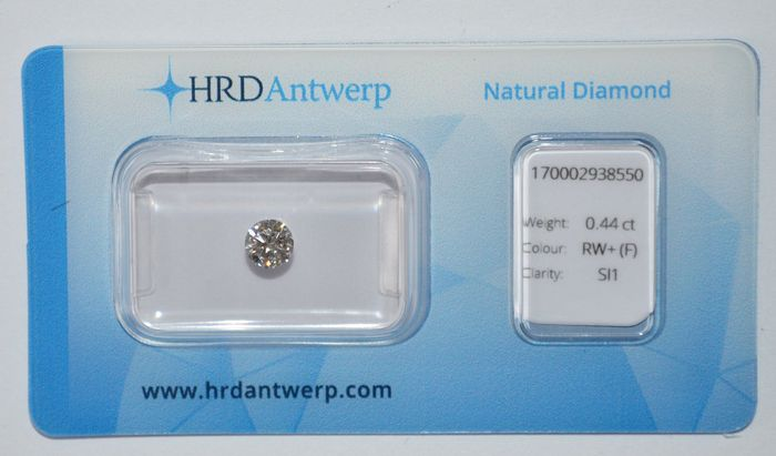 0.44 ct brilliant cut diamond, RW+ (F), SI1