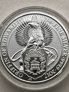 2 Ounce zilverenen coin Queens Beast Griffin 2017