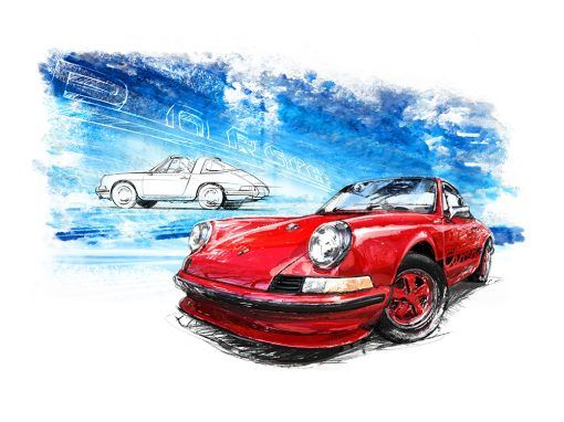 Porsche 911 Carrera Red (1961) - Giclee Art Poster - Limited Edition of 100 prints