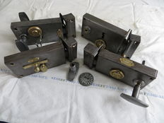 4 complete good working antique iron French door locks - period about 1917