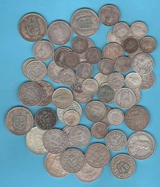 Switzerland - 62 silver coins from 1875 to 1966 (50 Rappen, 1 Franken, 2 Franken and 5 Franken)
