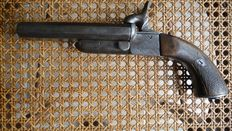Superb pin fire pistol with 2 smooth barrels