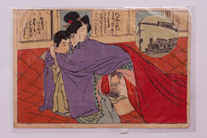 Shunga woodblock print  - Japan - 19th/20th century (Meiji period)