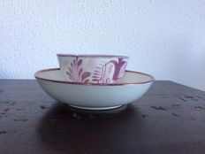 John Dawson & Co. Early pearlware porcelain, ' Low Ford Pottery ', Cup and saucer