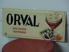 Metal advertising sign for Orval Trappist beer / text in relief - 2003