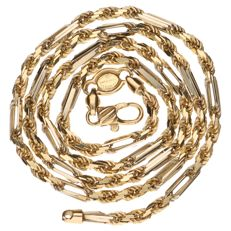 14 kt Yellow and white gold link necklace, 53 cm
