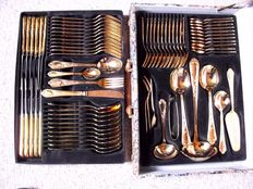 SBS Solingen cutlery case Vienna - 70 pieces 23/24 carat hard gold plated in cutlery case