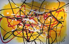 Rick Triest - The modern movement compositions - yellow and red waiting dor the sun to set