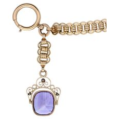Watch chain - with synthetic amethyst.