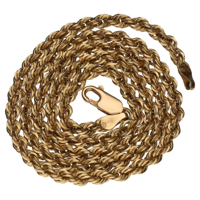 Yellow gold rope link necklace in 14 kt – 45 cm.
