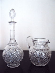 "Crystal of Saint Louis - decanter and water pitcher, collection ""Florence"" (signed) -1967"