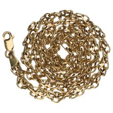 Yellow, 14 kt gold, double, twisted curb link necklace - 43 cm.