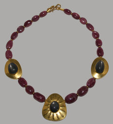 Ruby necklace with 3 gold medallions and grey moon stones