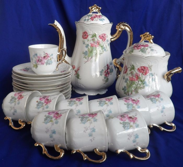 limoges malbec porcelain france gold and pink flowers coffee set for 10 catawiki. Black Bedroom Furniture Sets. Home Design Ideas