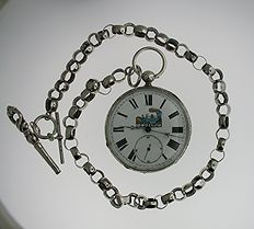 Train pocket watch Swiss 1880 with chain