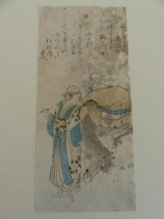 Woodcut figure with a pipe and horse by Kuniyoshi? (1798 -1861) – Japan – 19th century