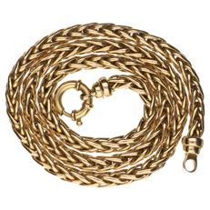 14 kt Yellow gold fox tail link necklace 45.5 cm