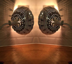 Great set of two design lamps from vintage spotlights with fitted diaphragm steam basket shade.