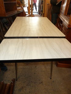 Rectangular kitchen table in grey formica