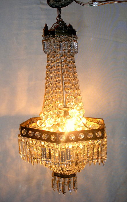 Large Hexagonal Crystal Chandelier In Empire Style For Balloon Beautiful Vintage Bag 40s