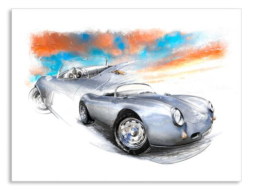 Porsche 550 Spyder (1954) - Giclee Art Poster - Limited Edition of 100 prints