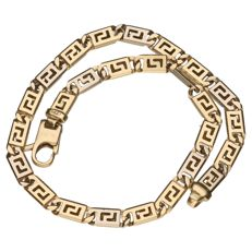 Yellow, 14 kt gold, link bracelet with a Greek pattern – 21 cm.