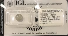 1.70 ct Round Brilliant-Cut  Diamond Natural onal +++Not  Reserve Price +++H I2