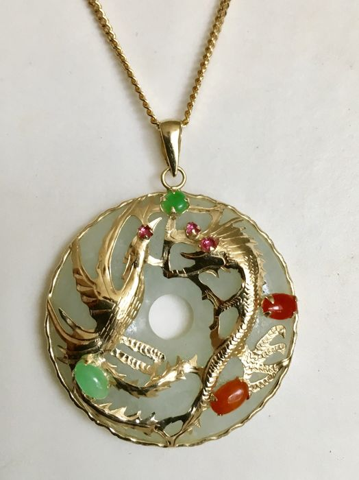 Chinese jade pendant with gold frame and red corals catawiki chinese jade pendant with gold frame and red corals aloadofball Gallery