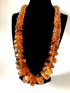 Antique necklace of  100% genuine Baltic amber weight 210 g, cognac colour, not treated