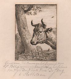 Johannes Bemme ( 1775 - 1841) -  Kop van een koe naar Potter - Signed and annotated by hand in pencil - ca. 1820