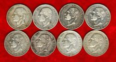 Spain – Alfonso XII (1874 – 1885), set of 8 silver coins of 2 pesetas – 1882 (7) y 1884 – MS·M Madrid. (8).