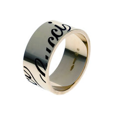 "Gucci - ""Icon Print"" 18k Ring Champagne Gold - Large Band"