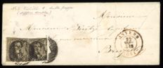Belgium 1851 - Imperforate Medallion 10 centimes with margin and watermark with V1 Double print on letter - OPB 3V1