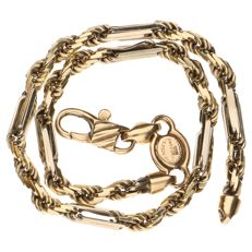 14 kt yellow and white gold twisted link bracelet - length: 19.8 cm
