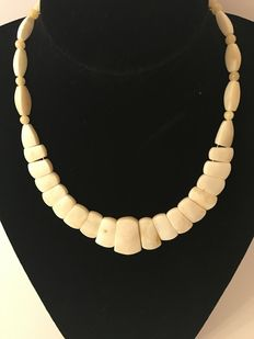 Baltic amber  ladies necklace in cream colour, 27 grams