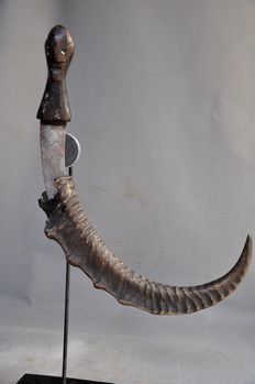 Old tribal sickle knife in sheath - BAGA PYGMY - Cameroon