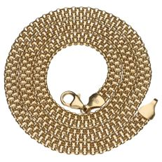 14 kt yellow gold double cur link necklace – Length: 45 cm