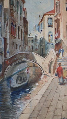 Artist unknown - Gondola onder een brug in Venetië