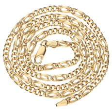 18 kt yellow gold Figaro link necklace, length: 53 cm
